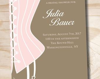 CLASSY CORSET Bridal Shower Invitation / Bachelorette Party Invitation - You Print