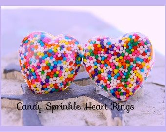 Candy Sprinkle Heart Rings, Resin Rings Sweetheart Resin Sprinkle , You Pick Puffy or Flat, Handmade,Birthday , Handmade By: Tranquilityy
