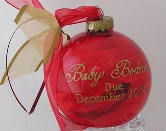 BABY DUE DATE Announcement Glass Keepsake Ornament Gift