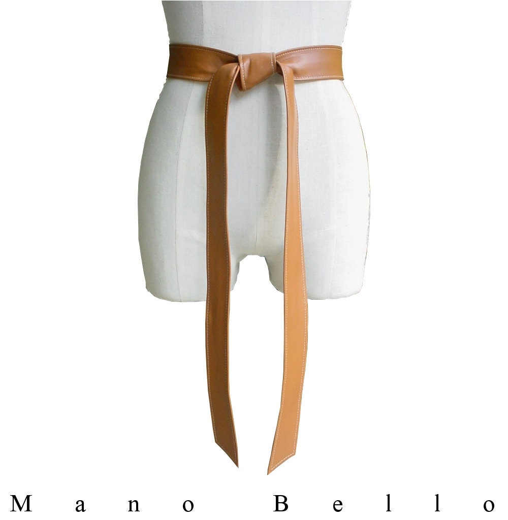 caramel lambskin leather coat belt soft leather belt