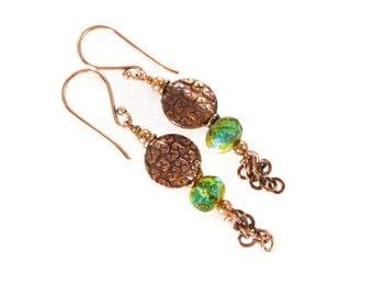 Bohemian Czech Glass Earrings, Copper Earrings, Dangle Earrings