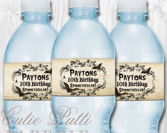 Haunted Mansion Party, Halloween Party, Haunted House Party - PRINTABLE WATER BOTTLE Labels - Cutie Putti Paperie