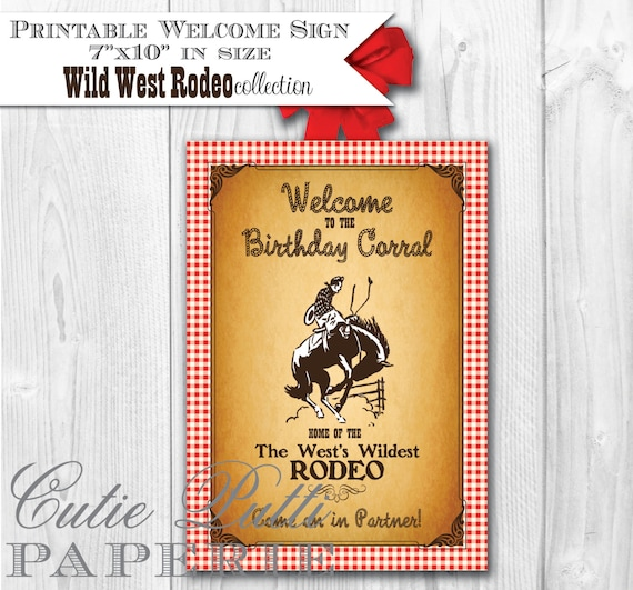 Wild West Rodeo Cowboy Cowgirl Party - PRINTABLE WELCOME SIGN - Cutie Putti Paperie