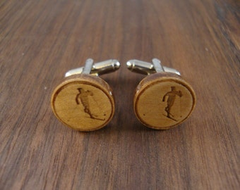 Men's Wooden Cuff Links - Cross Country Skier Engraved in Maple Wood - Wedding, anniversary, any Special Occasion