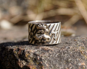 Layaway for Lisette Final payment...1850's French Dragon Crest Cigar Band Ring Sterling