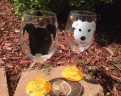 Giant Schnauzer Dog Lover Animal Lover Miniature schnauzer mini schnauzer dog Custom painted pet wineglass