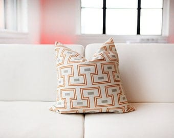 Geometric Orange- Tangerine- Decorative Pillow Cover -  18x18""