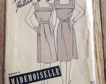 Vintage Advance 3678 Square Collar Day Dress Sewing Pattern 40s Dress Bust 34