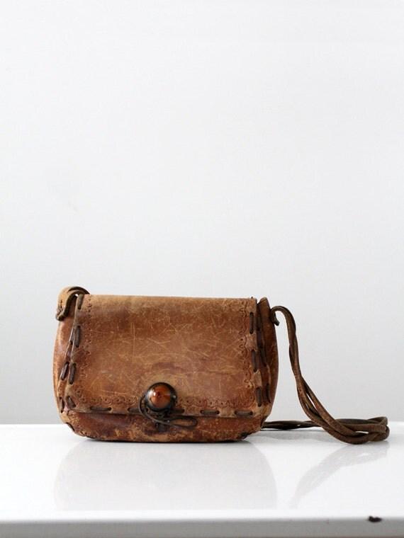 1970s leather hippie bag, boho purse