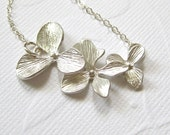 Silver flower necklace, Orchid cascade necklace, trio necklace, three flower necklace , 3 flower pendant jewlery, floral jewelry