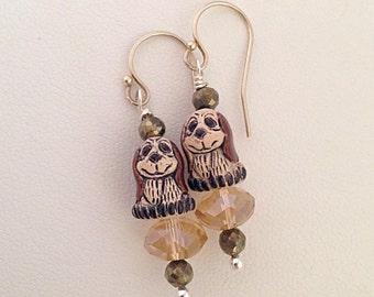 Puppy Dog Earrings - Hematite - Sterling Silver earwires -  Kid's Girl's Children's Earrings - Brown White - dog lover pet - dangle - march