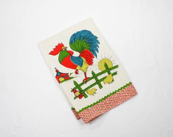 Vintage Linen Towel Rooster Farm Scene - Printed Kitchen Towel -  Rooster, Chicken, Chicks - Red and Blue - Mint Unused - MWOT
