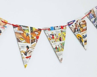 Mandy Bunting, Girl's Party Decor, upcycled paper garland, Comic banner, pennants, Eco-Friendly Bunting