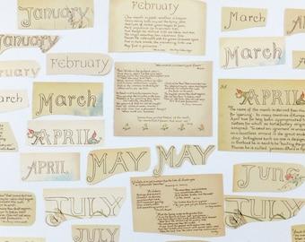 Months Paper Ephemera Pack, Words scrap pack, journal, Months themed pack, paper ephemera lot, paper scraps, craft supplies