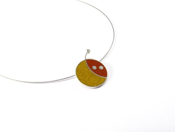 Sterling Silver Pendant - Geometric Cherry - Maroon and Mustard