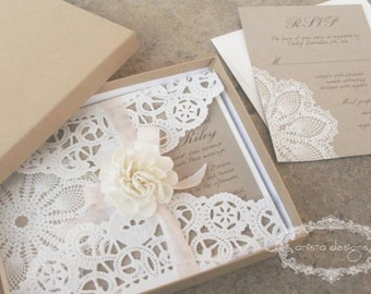 SALE:  vintage wedding invitation - Lace doily - featured in VOGUE UK  - Lillian Collection-  Sample