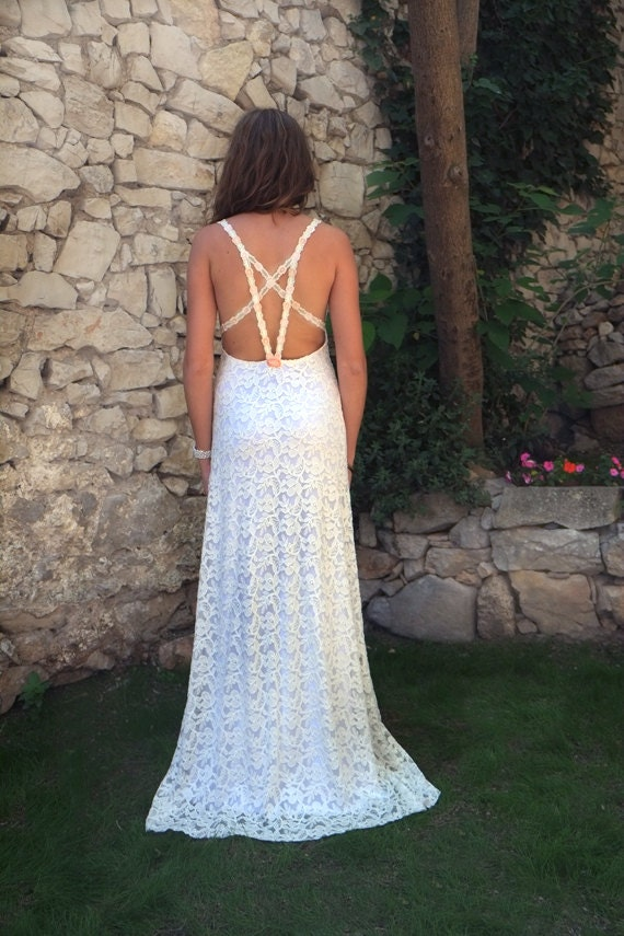 Items similar to sexy backless very low open back lace for Very sexy wedding dresses