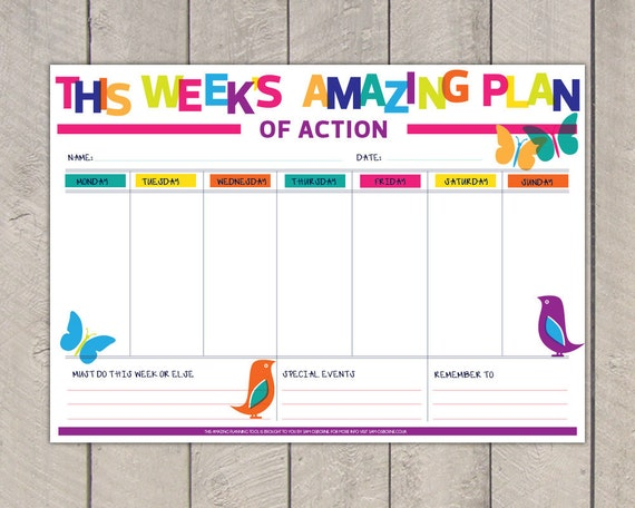 Printable Weekly Planner Pdf Diy Organiser To Do List