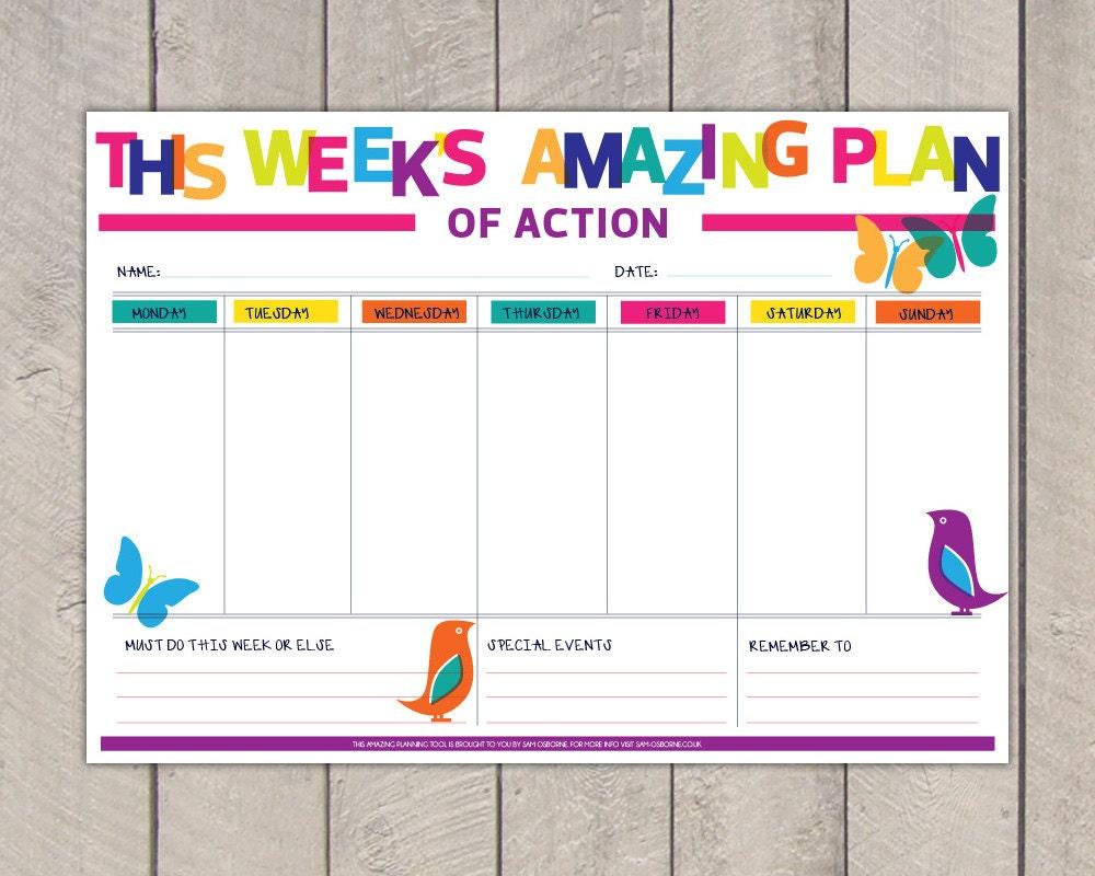 Printable Weekly Planner Diy Organiser Rainbow Nature
