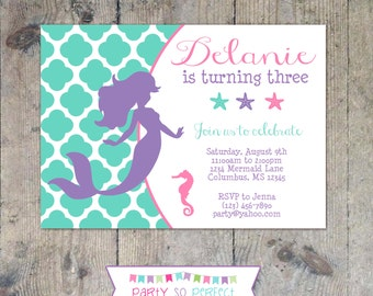 MERMAID SILHOUETTE Birthday Party 5x7 Girl Invitation- Printable