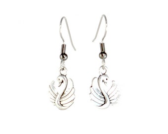 Miniature Swan Charm Earrings on Hooks or Clip Ons