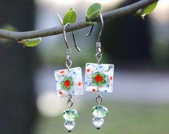 """White and Green Square Millefiori Dangle Earrings with Swarovski Crystals--""""Think Spring"""""""