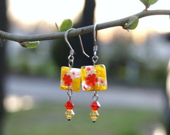 """Yellow White and Orange Square Millefiori Dangle Earrings with Swarovski Crystals--""""Colors of Summer"""""""