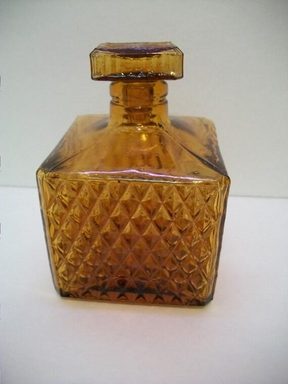 Vintagesmall Amber Liquor Bottle Amber Decanter Bottle