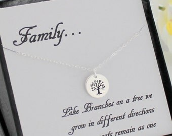 Family Tree Necklace & Message Card, Sterling Silver Mother's Necklace, Family Tree Necklace, Tree Of Life, Bridesmaid Gifts Best Friends