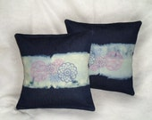 Denim & Lace Pillow Covers 16x16 inch decorative cushion covers (set of 2) Hand-dipped OOAK fuschia and Radiant Orchid cushion covers