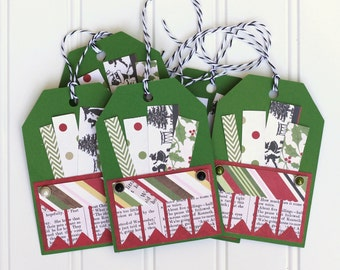 5 Handmade Red and Green Christmas Holiday Gift Tags / Shipping Tags (4.5 x 3 inches) with Black & White Baker's Twine