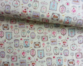 Japanese Fabric Yuwa, Macaron Fabric, Shabby Chic Fabric, Cafe Decor, Food Fabric, Kids Fabric, Dress Fabric/Sweets Patisserie/a yard
