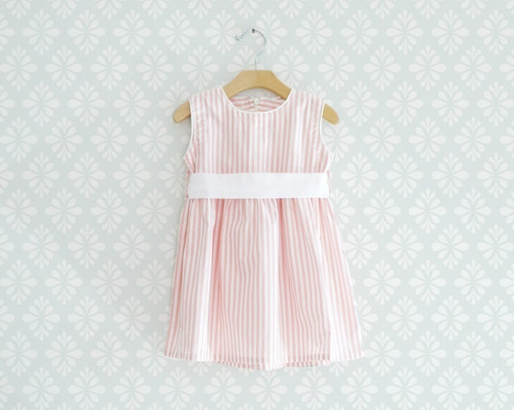 Sleeveless Baby Dress, Pink and White stripes Dress for little girl, Baby Summer dress