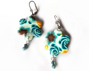 Turquoise blue FLOWER earrings, artisan made polymer clay flowers - yellow and chocolate brown , dangle with swarowski and miracle beads