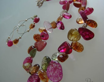 Dyed Quartz,sterling silver, multicolors,Adjustable necklace, dangle earrings.