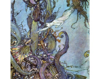Little Mermaid Print - Mermaid Seeks Witches Potion - Edmund Dulac Repro