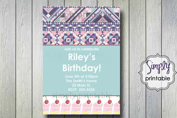 Tribal Birthday Cake Invitation (Printable Digital File)