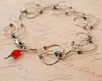 Hearts Bracelet Handmade Wire Wrapped Valentine's Day Gift For Her Silver Red