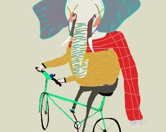 Elephant Biker. limited edition art print by Ashley Percival.