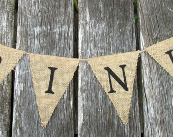 DRINKS burlap banner / wedding burlap banner / wedding bunting / wedding sign / reception banner
