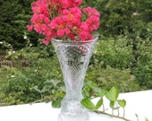 Fostoria Vase Candleholder from Avon / Vintage Avon Design by Fostoria / Heart and Diamond Pattern/ Glass Vase / Mother's Day Gift