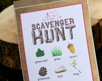Printable Camping Party SCAVENGER HUNT CARD