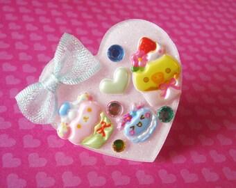 Kawaii Bear Cupcake, Baby Chick Cupcake and Happy Macaron Cookie Pink Heart Ring