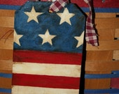 Hand Painted Wood Hang Tag - Basket Tie On - Americana - Flag