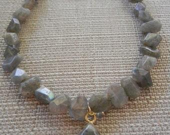 Labradorite Bezel Set Cluster Necklace, Gold Labradorite Natural Stone Necklace, Large Labradorite Necklace, Statement Necklace