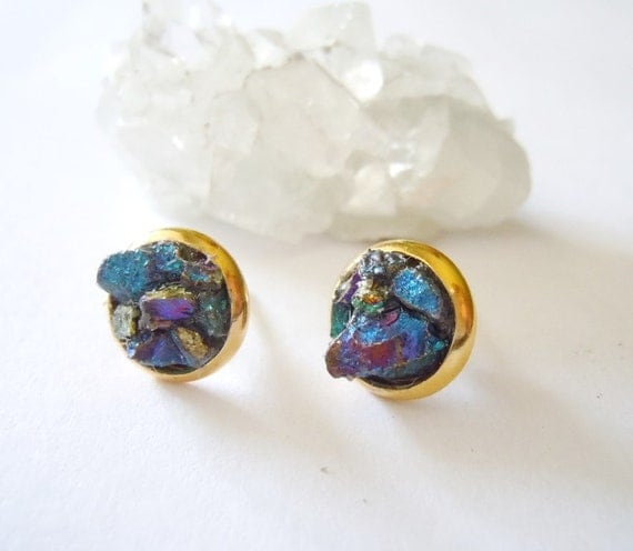 Peacock Ore Stud Earrings Raw Stone Jewelry Natural Raw