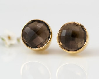 Smokey Quartz Stud Earrings - Gemstone Studs - Round Studs - Gold Stud Earrings - Post Earrings