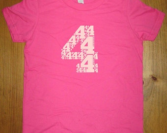 Birthday Shirt - 4 year old shirt - 4th Birthday - Number Shirt - Birthday Boy, Birthday Girl - Party - Kids Tshirt Size 4 - Gift Friendly