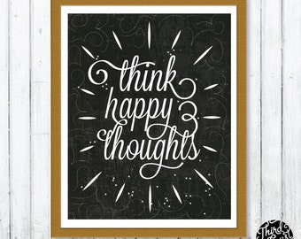 Think Happy Thoughts Peter Pan Chalkboard Art Print (11x14)