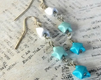 Ombre Mini Origami Lucky Star Earrings // Light Blue Ombre